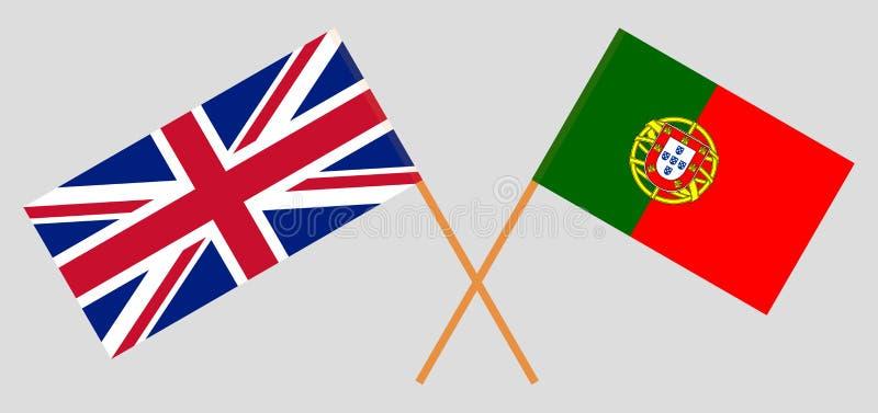Πορτογαλία και UK Οι πορτογαλικές και βρετανικές σημαίες Επίσημα χρώματα Σωστή αναλογία r ελεύθερη απεικόνιση δικαιώματος