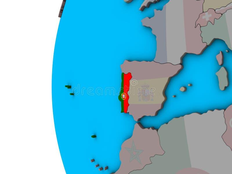 Πορτογαλία με τη σημαία στην τρισδιάστατη σφαίρα ελεύθερη απεικόνιση δικαιώματος