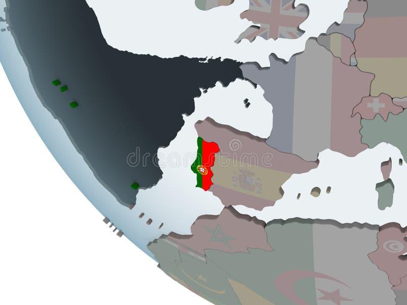 Πορτογαλία με τη σημαία στη σφαίρα διανυσματική απεικόνιση