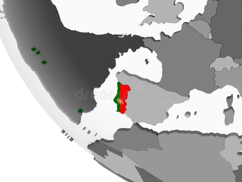 Πορτογαλία με τη σημαία στη σφαίρα ελεύθερη απεικόνιση δικαιώματος