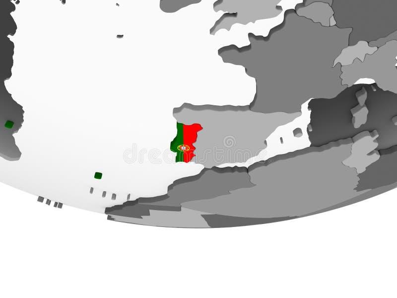 Πορτογαλία με τη σημαία στη σφαίρα απεικόνιση αποθεμάτων