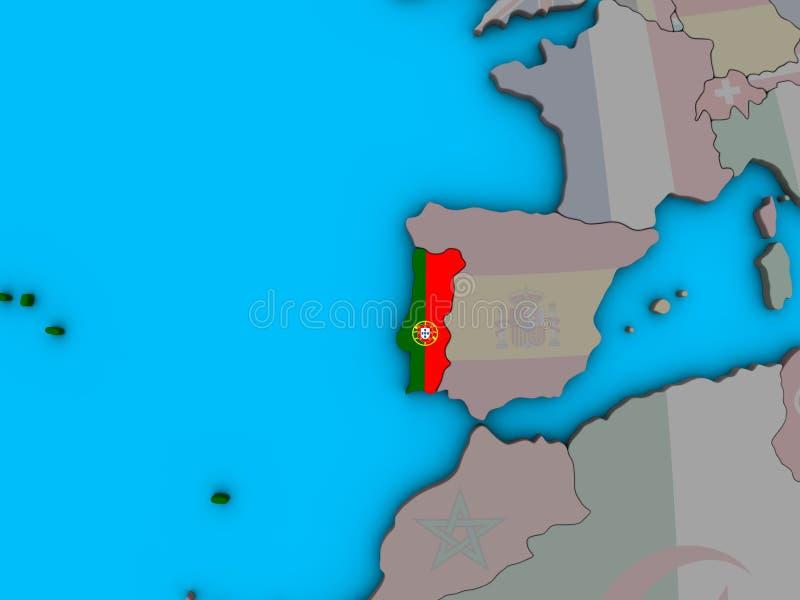 Πορτογαλία με τη σημαία στον τρισδιάστατο χάρτη ελεύθερη απεικόνιση δικαιώματος