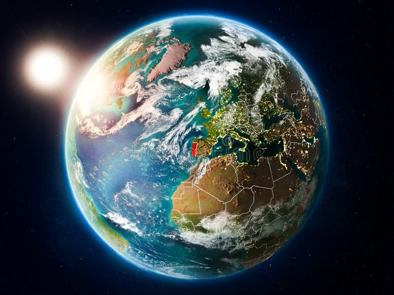 Πορτογαλία με το ηλιοβασίλεμα από το διάστημα ελεύθερη απεικόνιση δικαιώματος