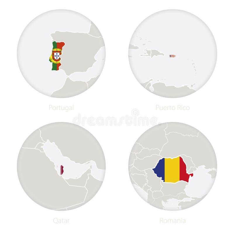 Πορτογαλία, Πουέρτο Ρίκο, Κατάρ, περίγραμμα χαρτών της Ρουμανίας και εθνική σημαία σε έναν κύκλο ελεύθερη απεικόνιση δικαιώματος