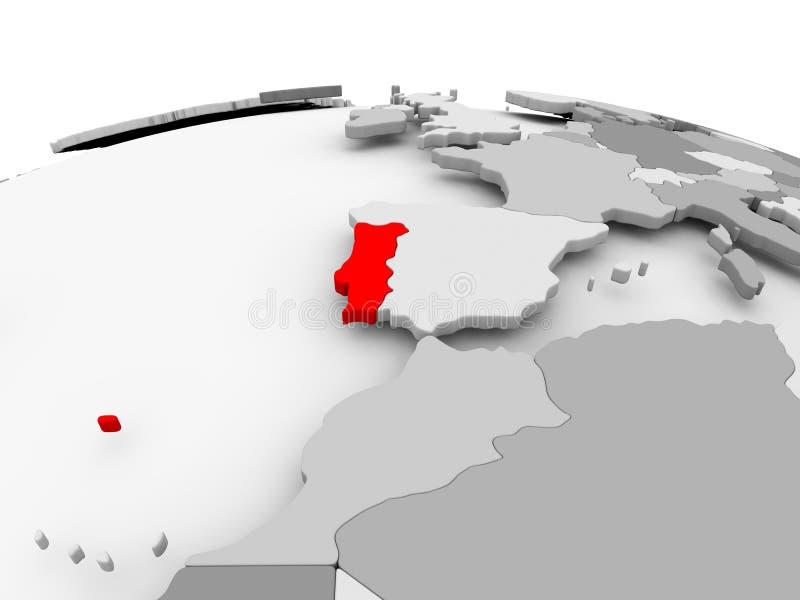 Πορτογαλία στην γκρίζα σφαίρα απεικόνιση αποθεμάτων