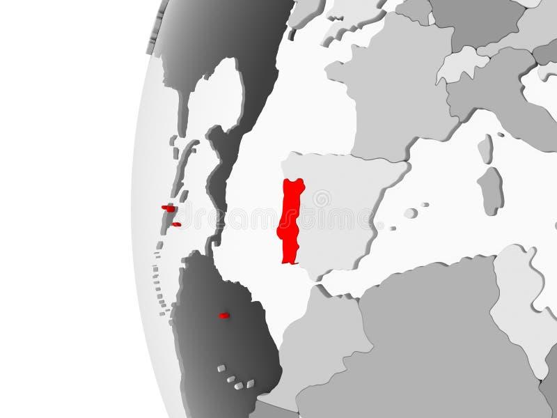 Πορτογαλία στην γκρίζα σφαίρα διανυσματική απεικόνιση
