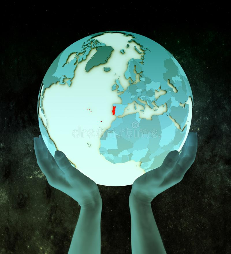 Πορτογαλία στην μπλε σφαίρα στα χέρια διανυσματική απεικόνιση