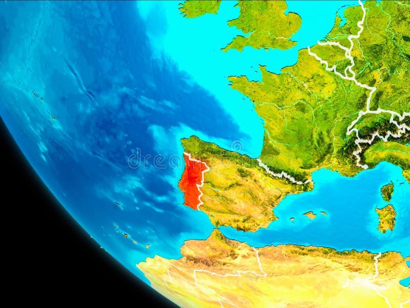 Πορτογαλία στη γη από το διάστημα απεικόνιση αποθεμάτων
