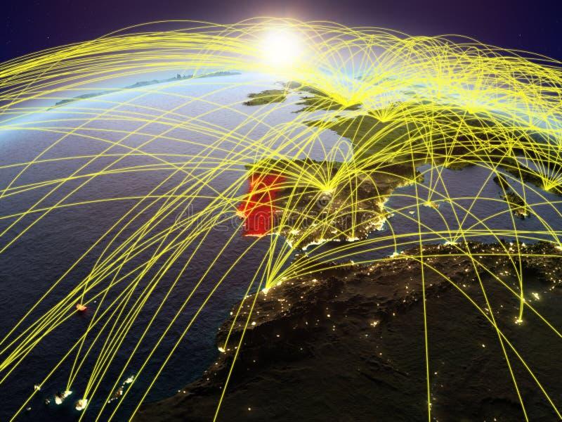 Πορτογαλία στη γη με τα δίκτυα διανυσματική απεικόνιση