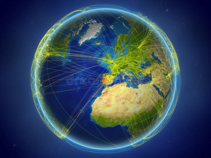 Πορτογαλία στη γη με τα δίκτυα ελεύθερη απεικόνιση δικαιώματος