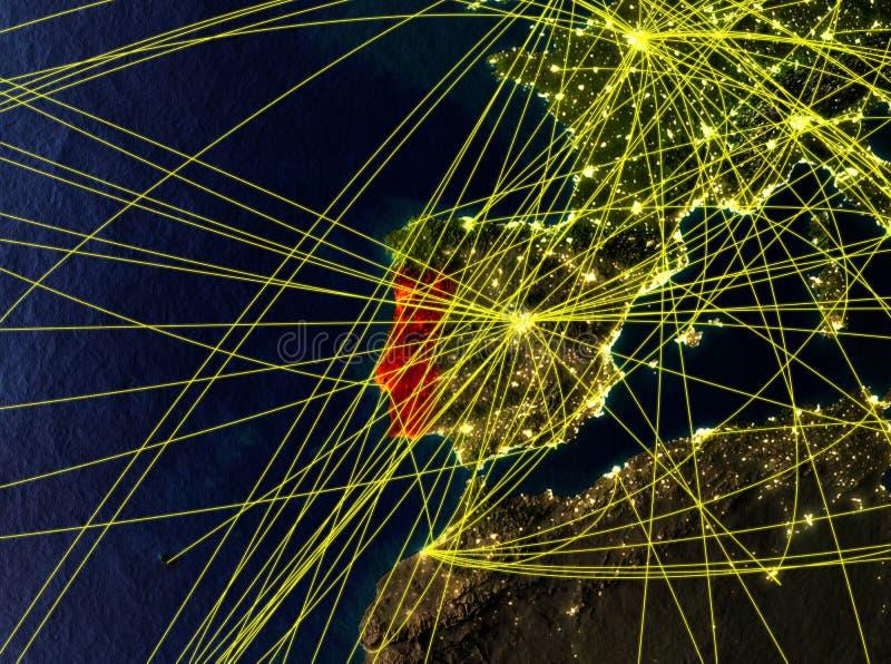 Πορτογαλία στη γη με τα δίκτυα απεικόνιση αποθεμάτων