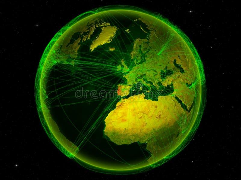 Πορτογαλία στη γη με το δίκτυο διανυσματική απεικόνιση