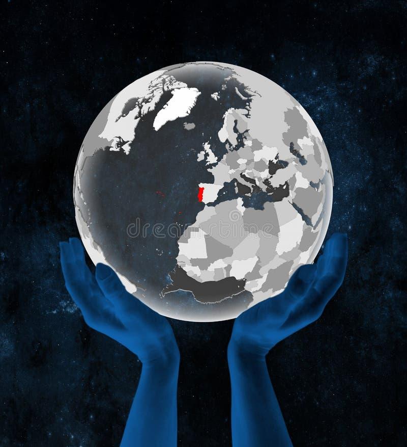 Πορτογαλία στη διαφανή σφαίρα στα χέρια διανυσματική απεικόνιση