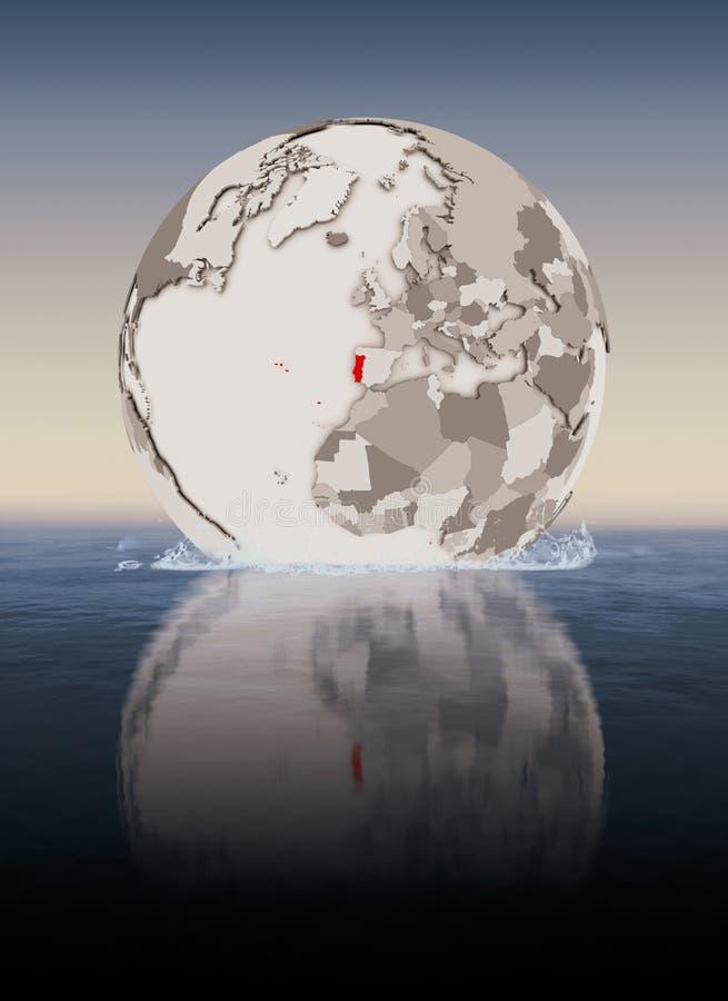 Πορτογαλία στη σφαίρα στο νερό διανυσματική απεικόνιση