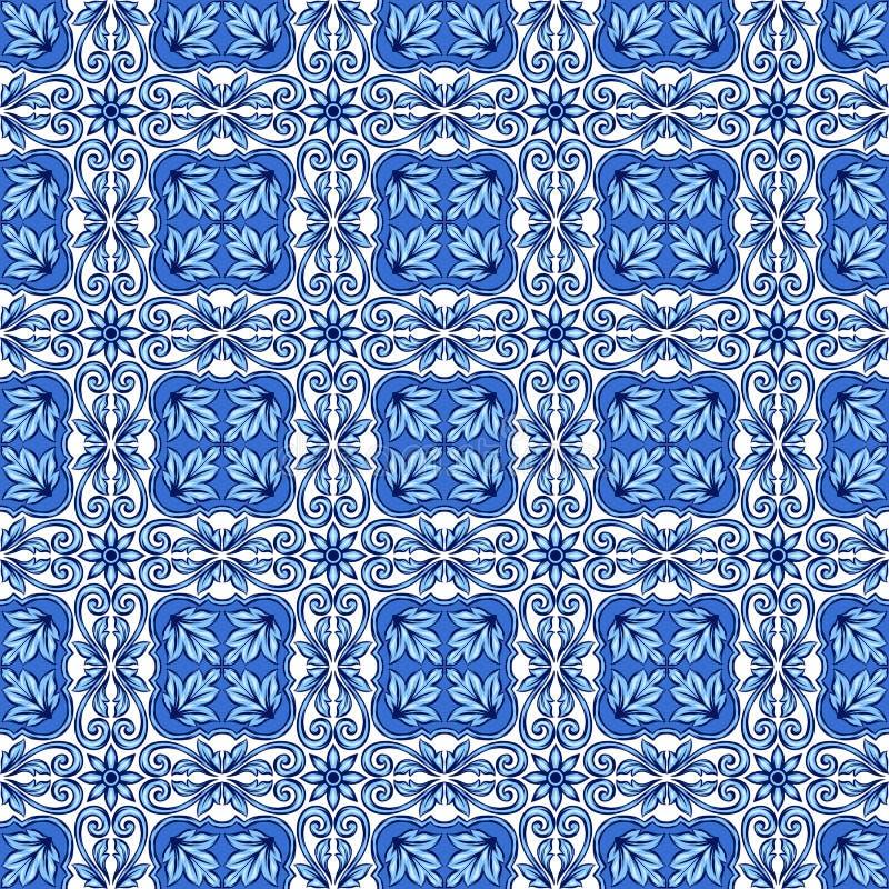Πορτογαλικό σχέδιο κεραμικών κεραμιδιών azulejo απεικόνιση αποθεμάτων
