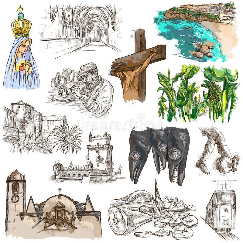 Πορτογαλία Εικόνες της ζωής Freehands διανυσματική απεικόνιση