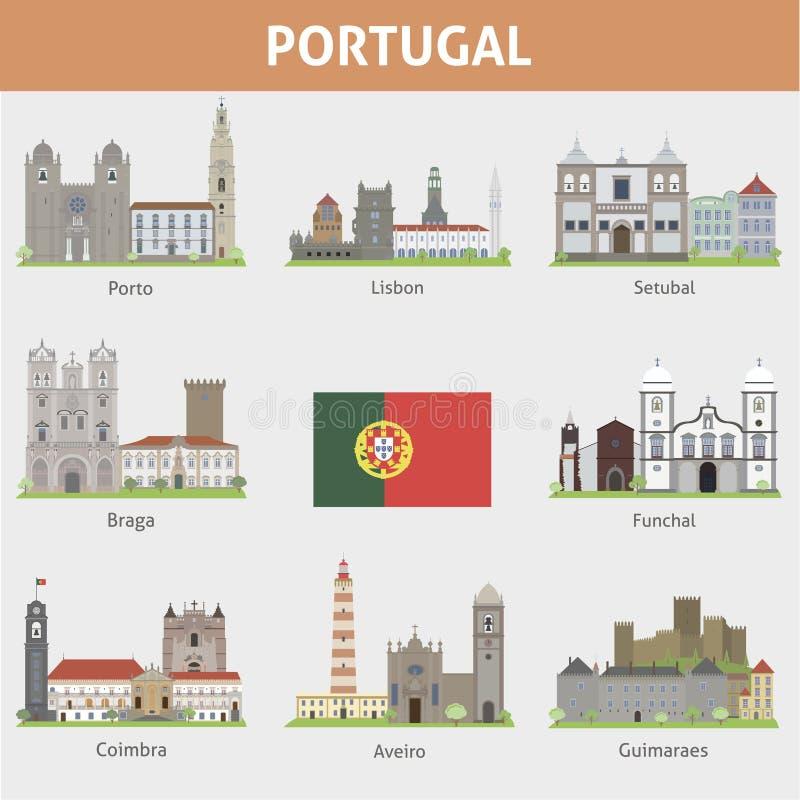 Πορτογαλία. Σύμβολα των πόλεων διανυσματική απεικόνιση