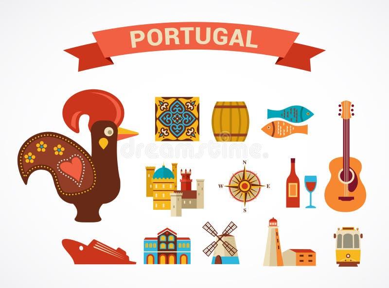 Πορτογαλία - σύνολο διανυσματικών εικονιδίων ελεύθερη απεικόνιση δικαιώματος