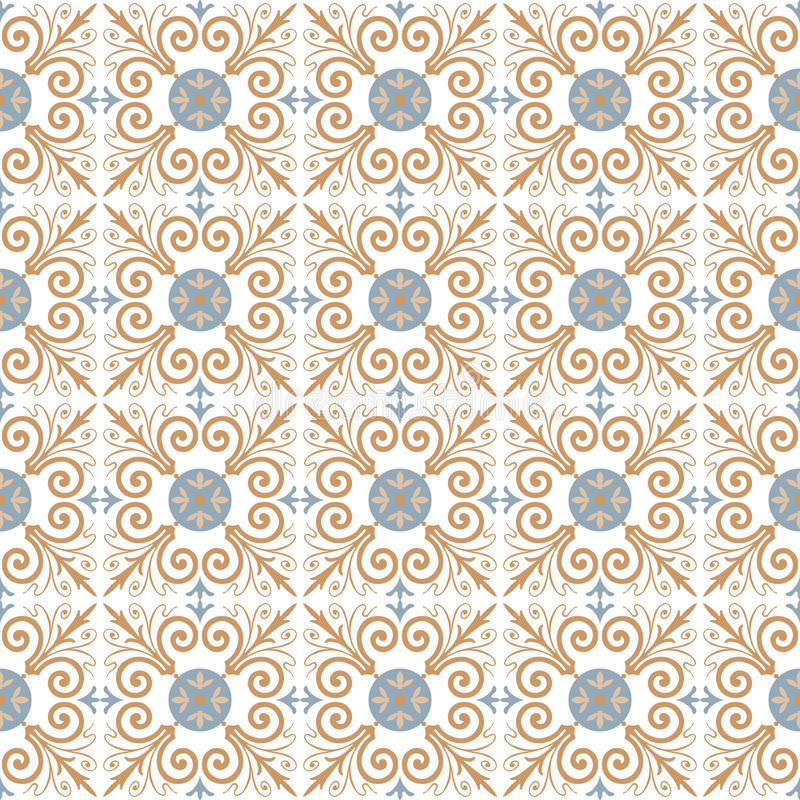 Πορτογαλικό σχέδιο κεραμιδιών γεωμετρικός παλαιός τρύγος εγγράφου διακοσμήσεων ανασκόπησης άνευ ραφής διάνυσμα διανυσματική απεικόνιση