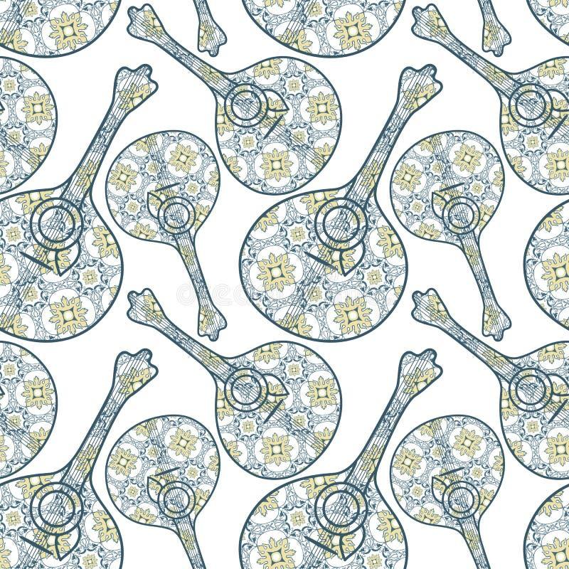 Πορτογαλικό υπόβαθρο κεραμιδιών κιθάρων και azulejo fado Tipical Vec ελεύθερη απεικόνιση δικαιώματος