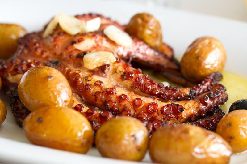 Πορτογαλικό χταπόδι πιάτων με την πατάτα στοκ εικόνες