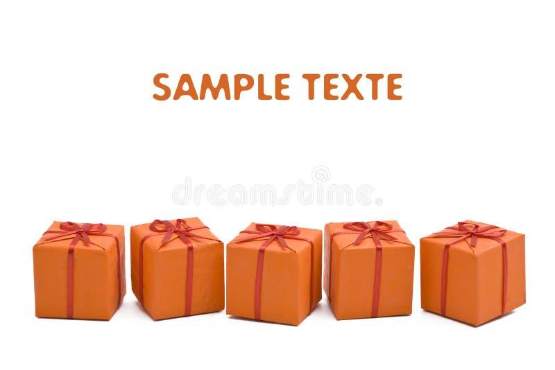 πορτοκάλι δώρων Χριστουγέννων κιβωτίων στοκ εικόνα