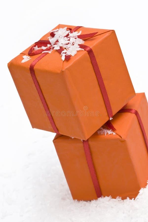 πορτοκάλι δώρων Χριστου&gam στοκ φωτογραφία