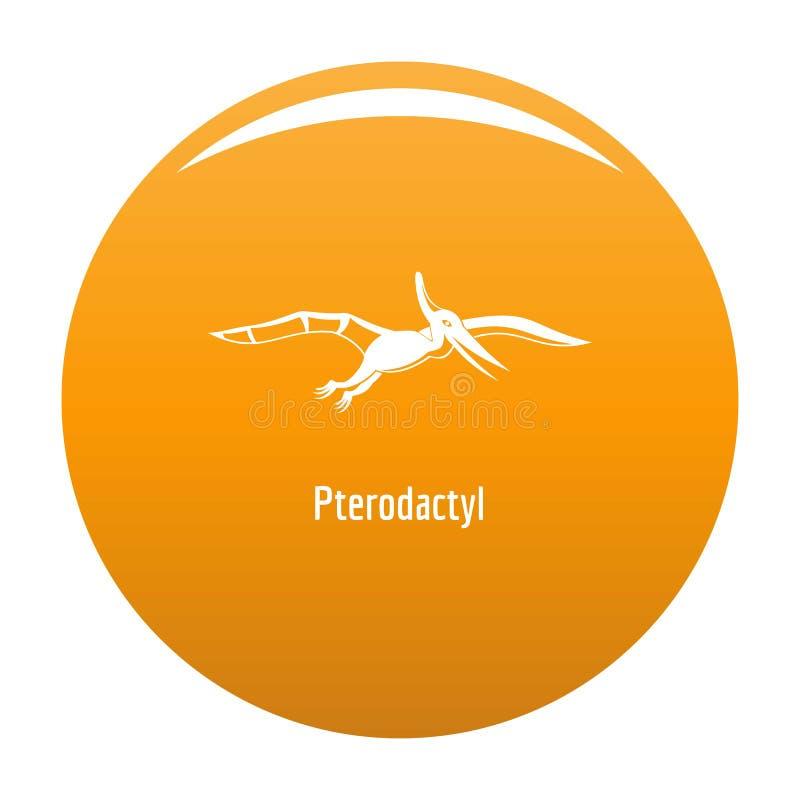 Πορτοκάλι εικονιδίων Pterodactyl διανυσματική απεικόνιση
