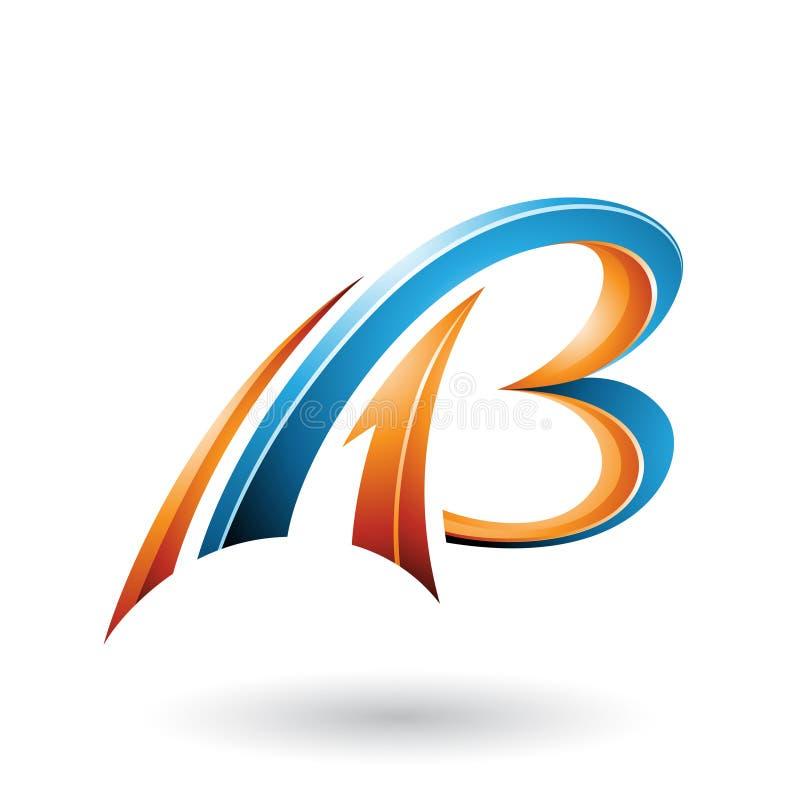 Πορτοκάλι και μπλε που πετούν τα δυναμικά τρισδιάστατα γράμματα Α και Β που απομονώνονται σε ένα άσπρο υπόβαθρο ελεύθερη απεικόνιση δικαιώματος