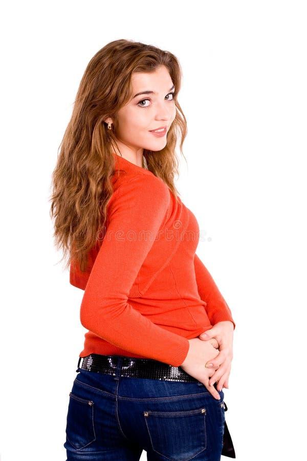 Download πορτοκάλι κοριτσιών στοκ εικόνα. εικόνα από πανέμορφος - 13177351