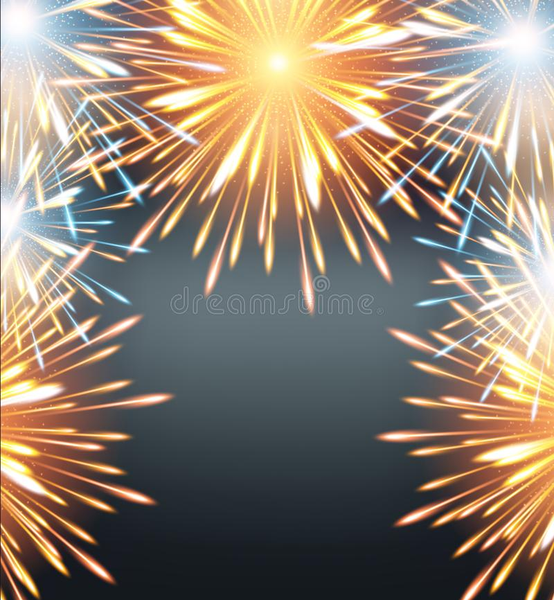 Πορτοκάλι πλαισίων εκρήξεων πυροτεχνημάτων σε μια ευχετήρια κάρτα στο κενό καλής χρονιάς ελεύθερη απεικόνιση δικαιώματος