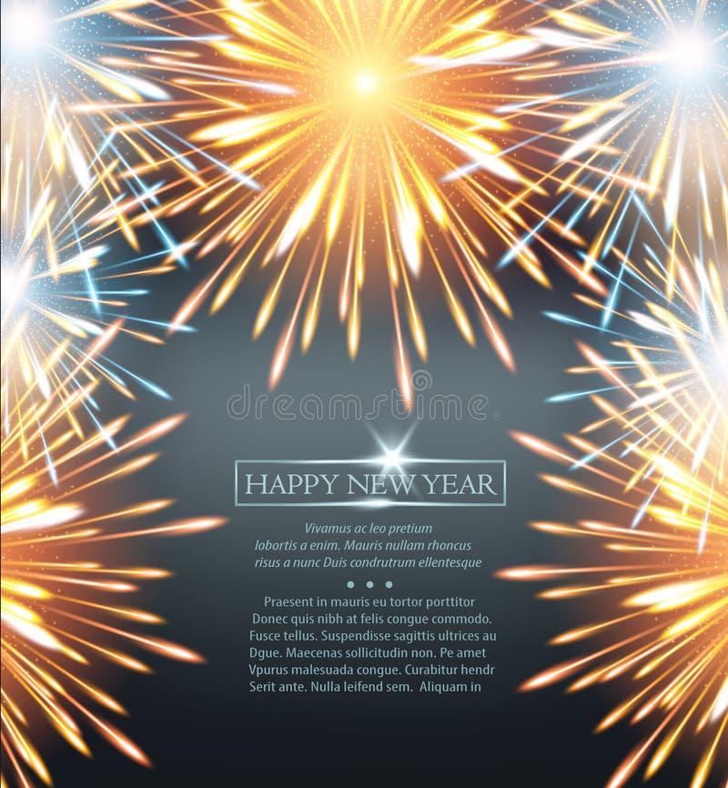 Πορτοκάλι πλαισίων εκρήξεων πυροτεχνημάτων σε μια ευχετήρια κάρτα στην καλή χρονιά ελεύθερη απεικόνιση δικαιώματος