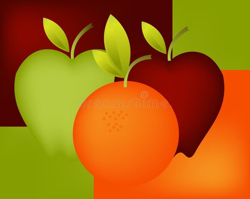 πορτοκάλι 04 μήλων διανυσματική απεικόνιση