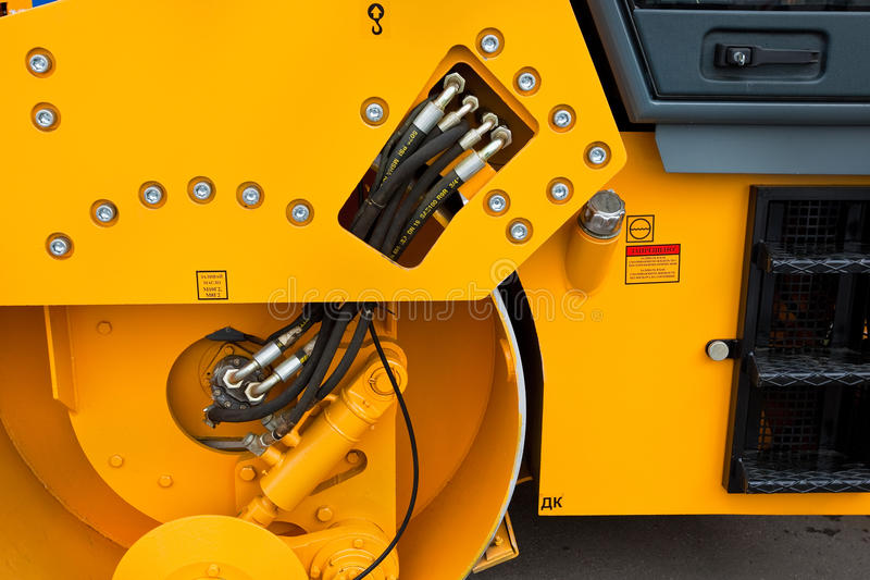 πορτοκάλι campactor ασφάλτου στοκ φωτογραφία