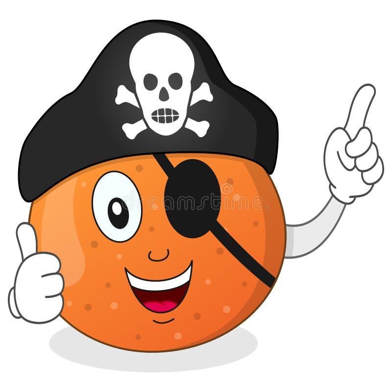 Πορτοκάλι πειρατών με το μπάλωμα ματιών & το καπέλο κρανίων ελεύθερη απεικόνιση δικαιώματος