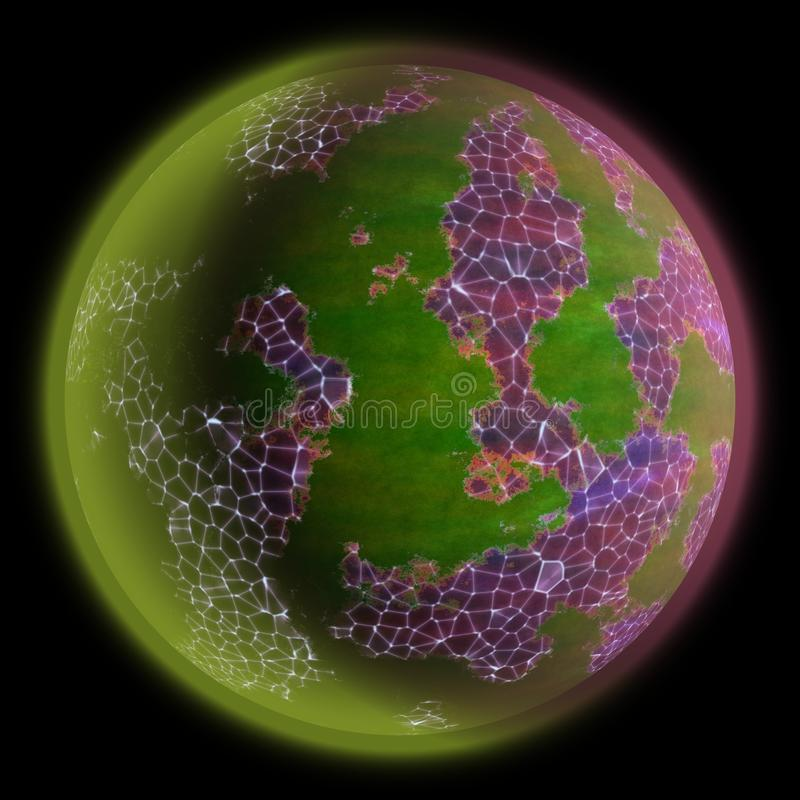 Πορτοκάλι που ο παράξενος πλανήτης στο διάστημα Πλανήτης φαντασίας κάπου ελεύθερη απεικόνιση δικαιώματος