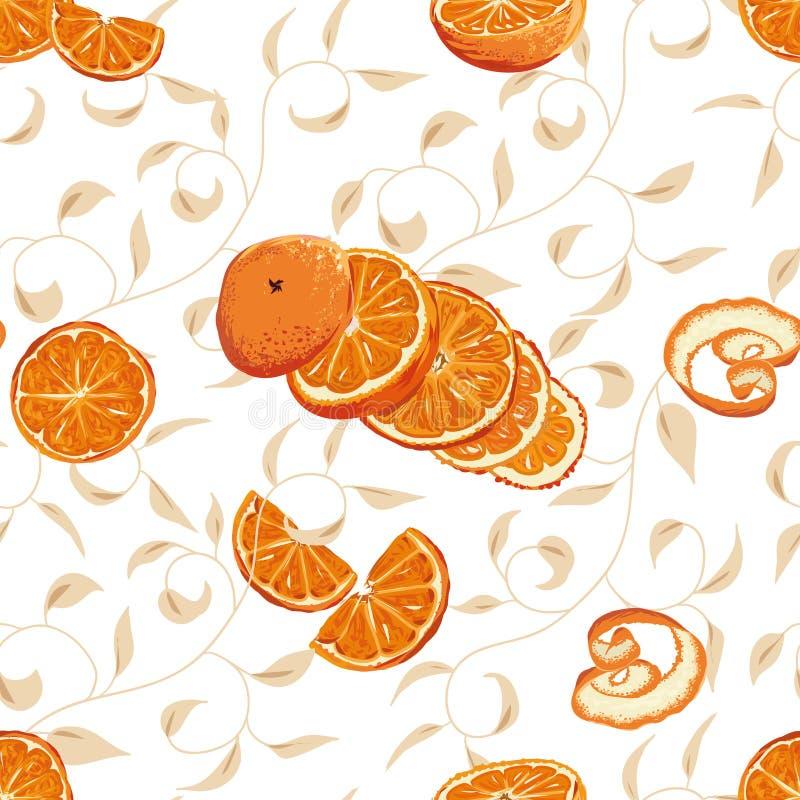 Πορτοκάλι που στροβιλίζεται το άνευ ραφής υπόβαθρο διανυσματική απεικόνιση