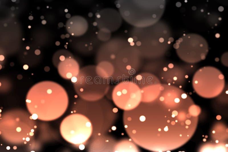 Πορτοκάλι bokeh στο σκοτάδι διανυσματική απεικόνιση