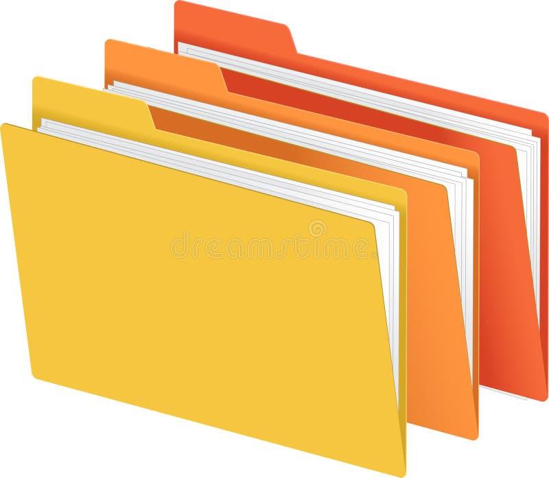 πορτοκαλής κίτρινος γραμματοθηκών αρχείων διανυσματική απεικόνιση