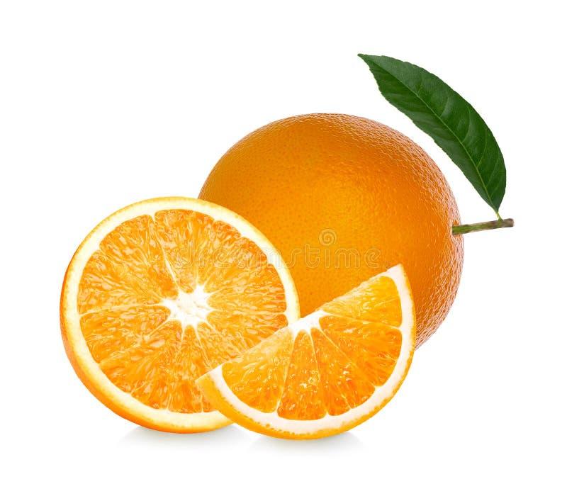 Πορτοκαλής καρπός Η πορτοκαλιά φέτα απομονώνει στο άσπρο υπόβαθρο στοκ εικόνα