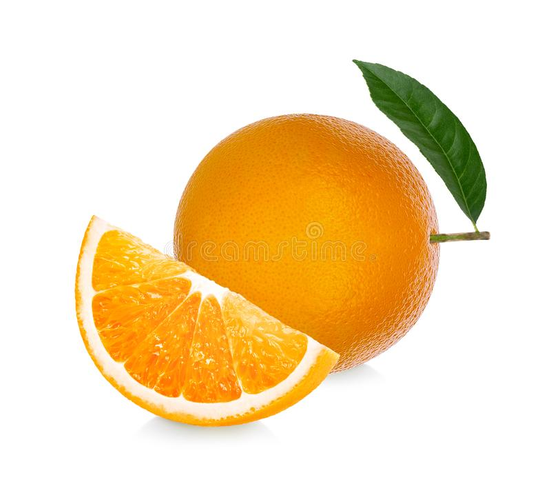 Πορτοκαλής καρπός Η πορτοκαλιά φέτα απομονώνει στο άσπρο υπόβαθρο στοκ εικόνες