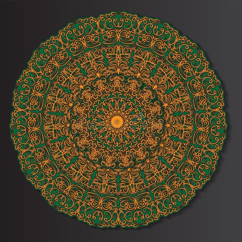 Πορτοκαλής-πράσινο στρογγυλό εθνικό mandala, απεικόνιση στο μαύρο υπόβαθρο Μπορέστε να χρησιμοποιηθείτε για το χρωματισμό του βιβ διανυσματική απεικόνιση