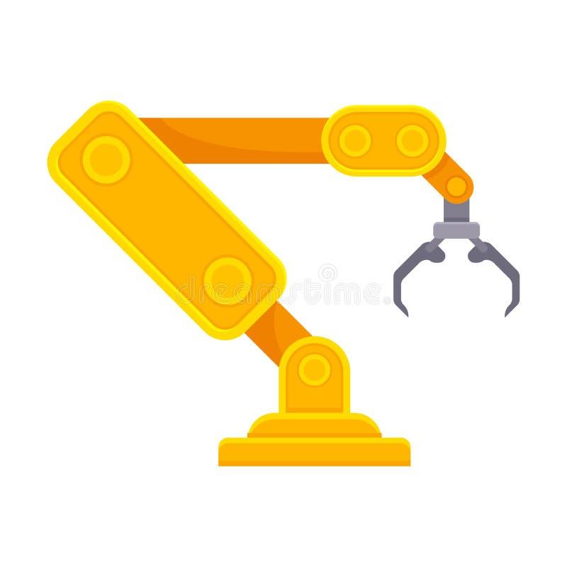 Πορτοκαλής ρομποτικός βραχίονας με το ανοικτό νύχι E διανυσματική απεικόνιση