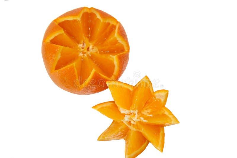 Πορτοκαλής φωτεινός, ηλιόλουστος σε ένα άσπρο υπόβαθρο στοκ φωτογραφία με δικαίωμα ελεύθερης χρήσης