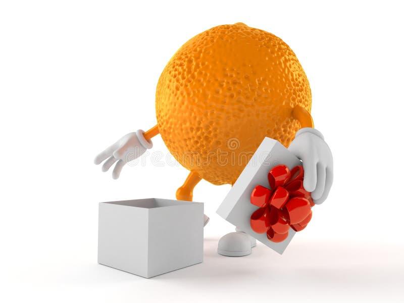 Πορτοκαλής χαρακτήρας με το ανοικτό δώρο ελεύθερη απεικόνιση δικαιώματος