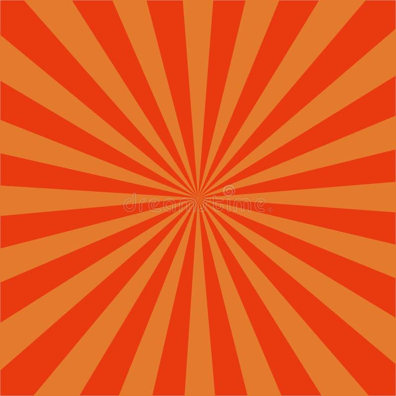 Πορτοκαλί ακτινωτό αναδρομικό υπόβαθρο ανατολής Σχέδιο ηλιοφάνειας με τις ακτίνες, αφηρημένη σπείρα, starburst διανυσματικό eps10 απεικόνιση αποθεμάτων