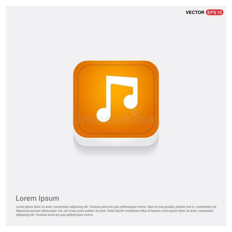Πορτοκαλί αφηρημένο κουμπί Ιστού εικονιδίων σημειώσεων μουσικής απεικόνιση αποθεμάτων