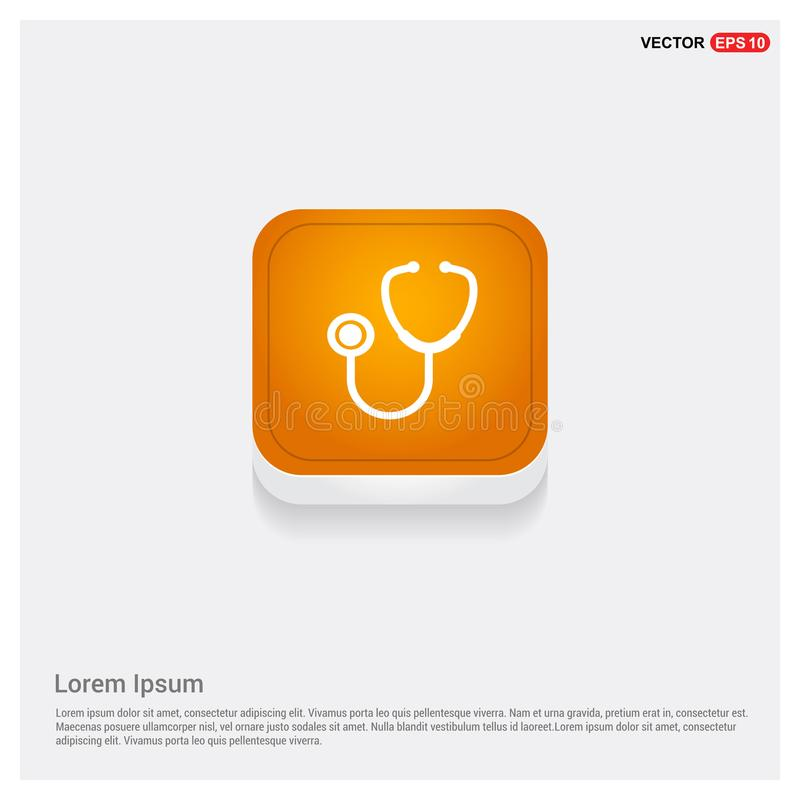 πορτοκαλί αφηρημένο κουμπί Ιστού εικονιδίων στηθοσκοπίων απεικόνιση αποθεμάτων