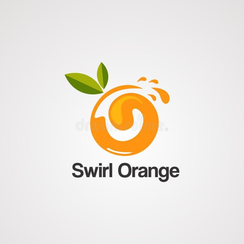 Πορτοκαλί διάνυσμα, εικονίδιο, στοιχείο, και πρότυπο λογότυπων στροβίλου διανυσματική απεικόνιση