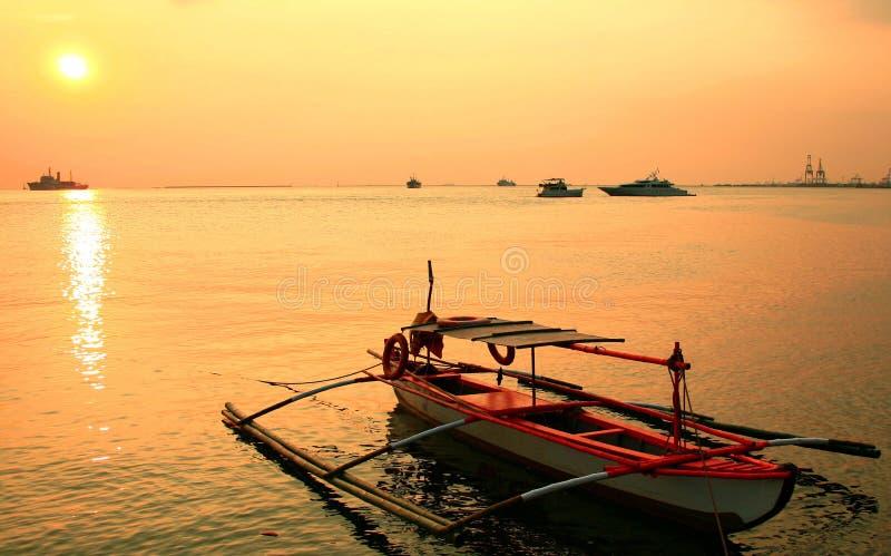 πορτοκαλί ηλιοβασίλεμα banca στοκ φωτογραφίες